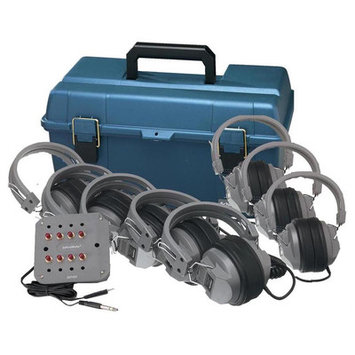 Hamilton Electronics LCP - JBP-6SV - HA5 Listening Center- 6 Station Jackbox with Volume- Deluxe Headphones- ASM with Carry Case