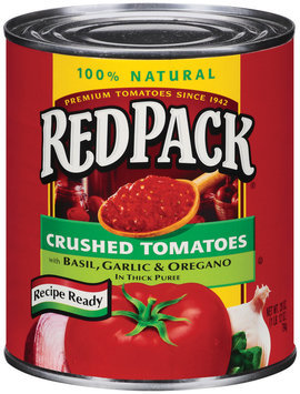 RedPack Crushed W/Basil Garlic & Oregano In Thick Puree Tomatoes 28 Oz Can
