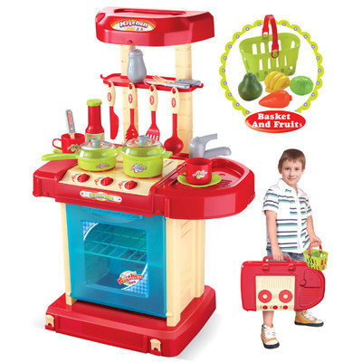 Merske Llc Berry Toys Play and Carry Plastic Play Kitchen - Red