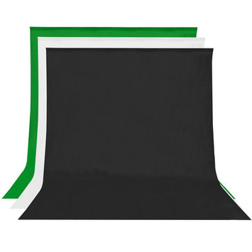 Square Perfect 10 x 20 Ft. 3-Pack Muslins White Black Green Photo Backdrop