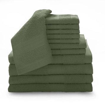 Luxury Home 12 Piece Super Plush Egyptian Cotton Towel Set, Avocado