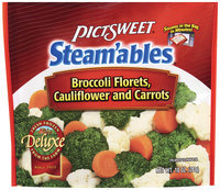 STEAM'ABLES DELUXE Broccoli Florets, Cauliflower & Carrots Vegetable Mix 10 OZ STAND UP BAG