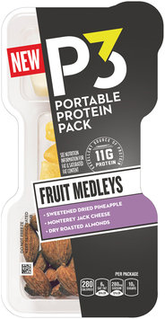 P3 Fruit Medleys Pineapple, Monterey Jack, & Almonds Portable Protein Pack 2.1 oz. Tray