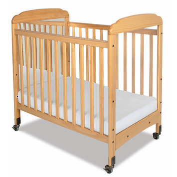 Foundations Serenity, Compact, Fixed Side, Mirror End Crib Natural