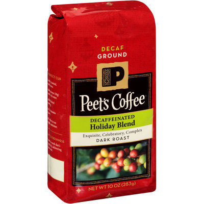 Peet's Coffee® Decaffeinated Holiday Blend Dark Roast Coffee Grounds 10 oz. Package