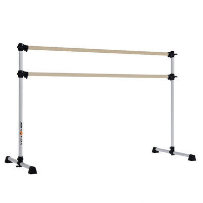 Vitavibe Prodigy Series Traditional Wood Double Bar Ballet Barre Size: 7 ft.