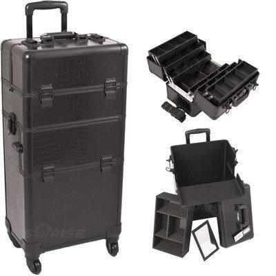 Just Case Sunrise I3461CRAB Black Crocodile Trolley Makeup Case