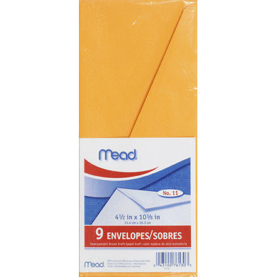 Mead Products 76130 Letter Size Heavyweight Kraft Envelope 9 Count