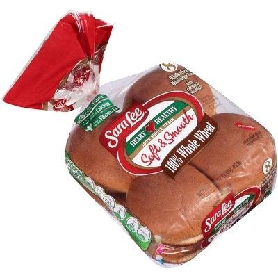 Sara Lee® Soft & Smooth® 100% Whole Wheat Hamburger Buns with Calcium & Vitamin D 8 ct Bag