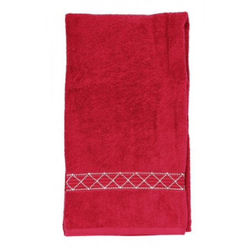 Sparkles Home Rhinestone X-Pattern Bath Towel Color: White