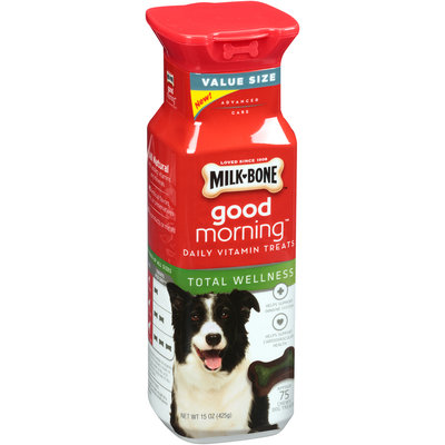Milk-Bone Good Morning Daily Vitamin Dog Treats, Total Wellness 15-Ounce - 75 Bones