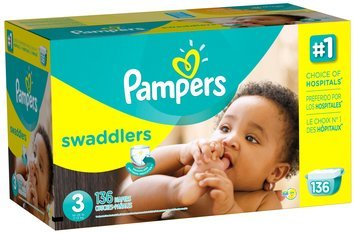 Pampers Swaddlers Economy Pack Size 3 Diapers 136 ct Box