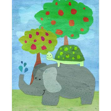 Green Leaf Art Turtle Rider Canvas Wall Art