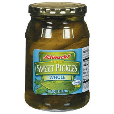 Schnucks Sweet Whole No Sugar Pickles 16 Oz Jar