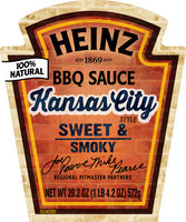 Heinz Kansas City Style BBQ Sauce 18.6 oz. Bottle