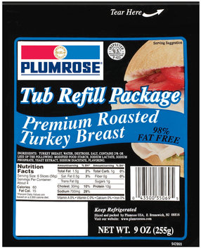 Plumrose Premium 98% Fat Free Tub Turkey Or Refill 9 Oz Peg