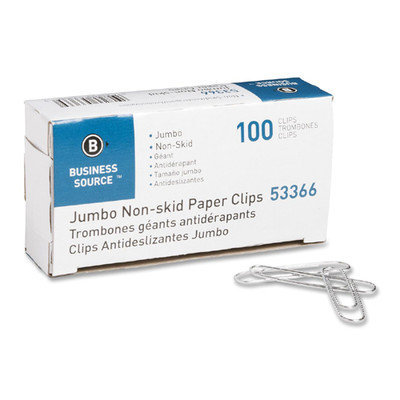 Business Source 53366 Paper Clips Jumbo Nonskid 1000/PK Silver