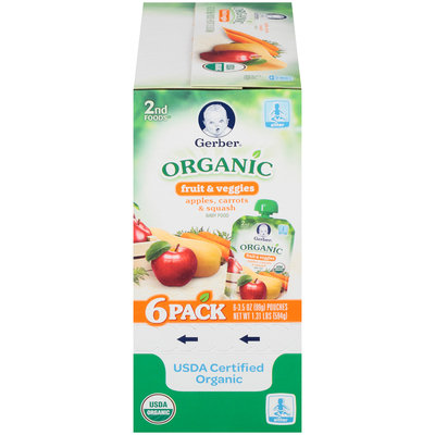Gerber Organic 2nd Foods Fruit & Veggies Apples, Carrots & Squash Baby Food 6-3.5 oz. Pouches