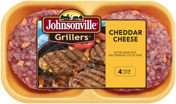 Johnsonville Grillers Cheddar Brat Patties 16oz 4ct tray (101867)