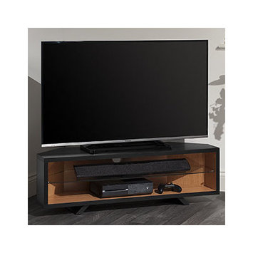 Techlink DL115SBLO Satin Black & Light Oak Corner TV Stand.