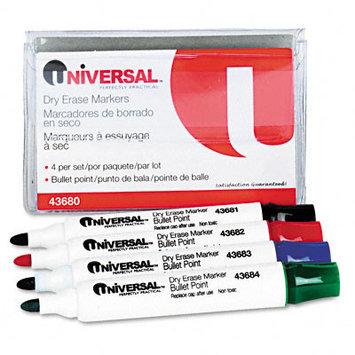 UNIVERSAL 43680 Dry Erase Markers, Bullet Tip, Assorted, 4/Set