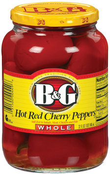 B&G Hot Red Cherry Whole Peppers 32 Oz Jar