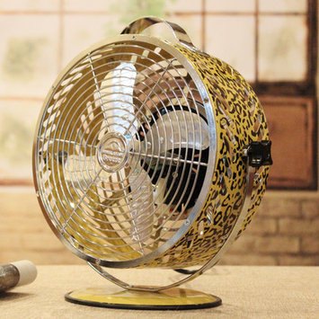 WBM Himalayan Breeze 8.75 in. Decor Leopard Table Fan HBM-7015A2