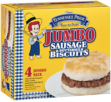 Tennessee Pride Jumbo Sausage & Buttermilk Biscuit Sandwiches 4 ct. Wrapper