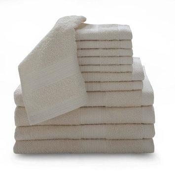Luxury Home 12 Piece Super Plush Egyptian Cotton Towel Set, Neutral
