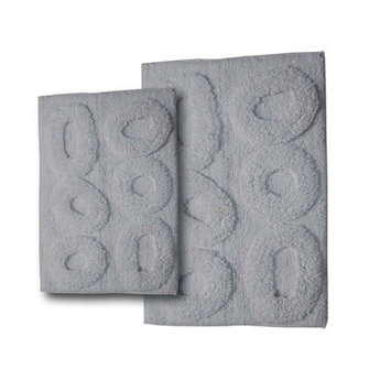 Textile Decor Castle 2 Piece Castle Hill 100% Cotton Pebble Spray Latex Bath Rug Set, White