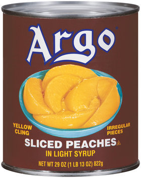 Argo Yellow Cling in Light Syrup Sliced Peaches