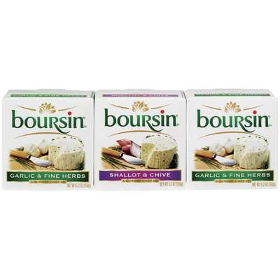 Boursin Garlic & Fine Herbs/Shallot & Chive 5.2 Oz Boxes Gournay Cheese 3 Ct Pack