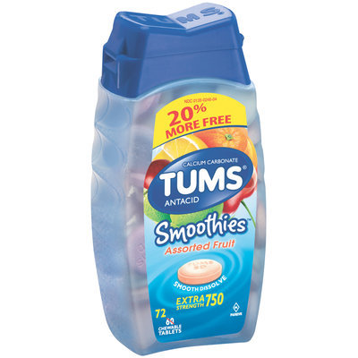 Tums® Smoothies™ Assorted Fruit Extra Strength 750 Antacid/Calcium Supplement Tablets 72 ct Bottle