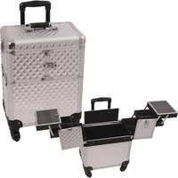 Just Case Usa Inc. Professional Rolling Cosmetic Makeup Train Case Color: Silver Diamond