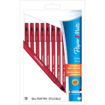 Papermate Write Bros. Medium Stick Pens in Red (9323464)-10/Pack
