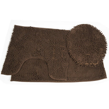 Sweet Home Collection Glenwood 3 Piece Bath Rug/Toilet Cover Set, Chocolate