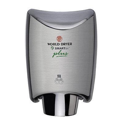 World Dryer SmartDri Plus Single-Port Nozzle Hand Dryer Finish: Aluminum Brushed Chrome, Voltage: 208-240 V