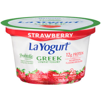 La Yogurt® Probiotic Strawberry Greek Lowfat Yogurt 5.3 oz. Cup