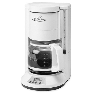 COFFEEPRO CP330W Automatic Coffeemaker 12-Cup 8inx8-1/2inx13in White