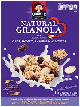 Quaker Natural Cereal Oats, Honey & Raisins 28 Oz Granola 2 Pk Box