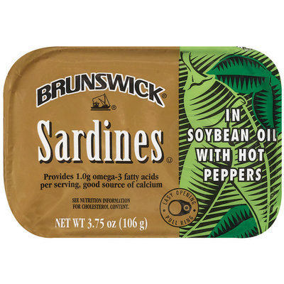 Brunswick In Soybean Oil W/Hot Peppers 3.75 Oz Tin Overwrap Sardines