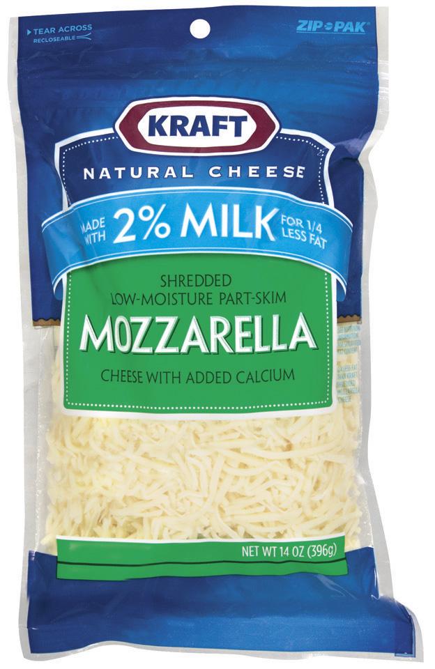 Kraft Natural Cheese Mozzarella Low-Moisture Part-Skim W/Added Calcium Made W/2% Milk Shredded Cheese 14 Oz Peg