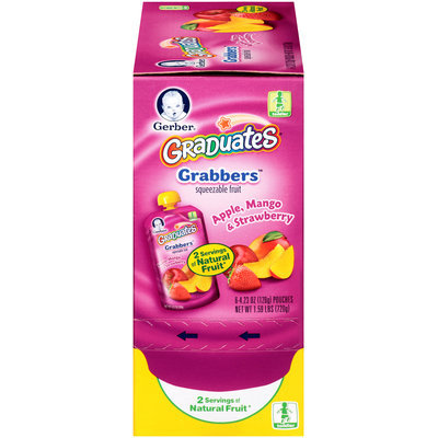 Gerber® Graduates® Grabbers™ Apple Mange & Strawberry Squeezable Fruit 6 ct Box