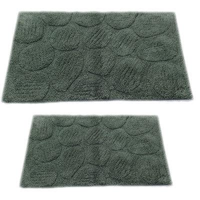 Textile Decor Castle 2 Piece 100% Cotton Palm Spray Bath Rug Set, 30 H X 20 W and 40 H X 24 W, Green