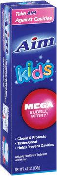 Aim Kids Anticavity Fluoride Gel Mega Bubble Berry Toothpaste 4.8 Oz Box