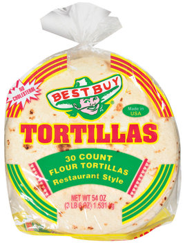 Best Buy Restaurant Style 30 Ct Tortillas Flour 54  Poly Bag