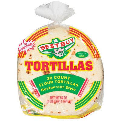 Best Buy Restaurant Style 30 Ct Tortillas Flour 54  Poly Bag