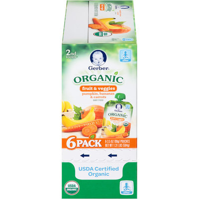 Gerber® 2nd Foods® Pumpkin, Bananas, & Carrots Organic Fruit & Veggies Baby Food 6-3.5 oz. Pouches