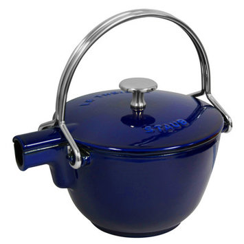 Staub 1650091 - Enameled Cast Iron Round Teapot, 1 qt, Dark Blue