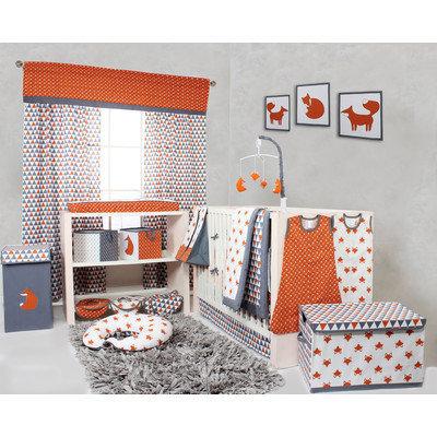 Bacati Playful Fox 10 Piece Crib Bedding Set